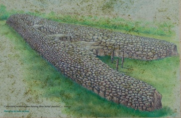 Illustration of the likely construction and appearance of the Clontygora Court Tomb
